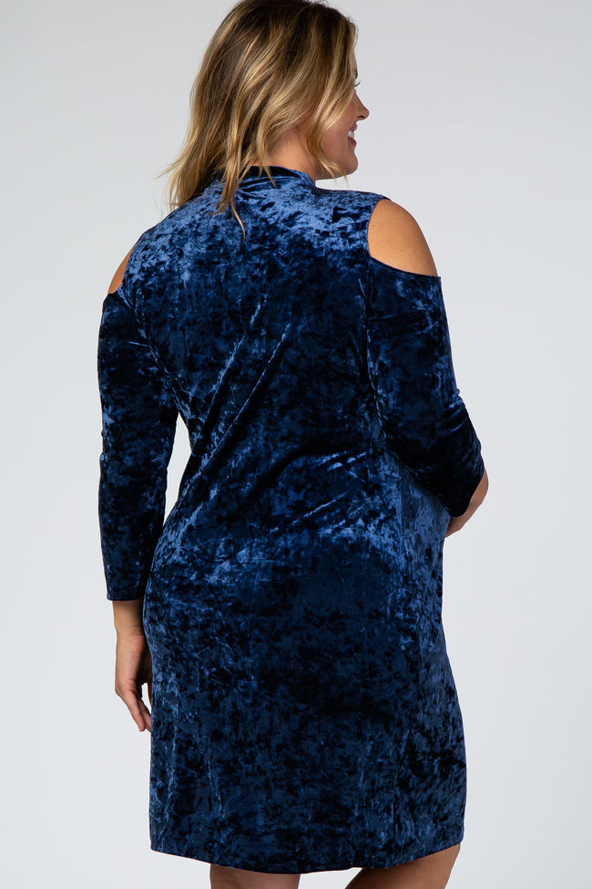Navy Cold Shoulder Crushed Velvet Plus Maternity Dress