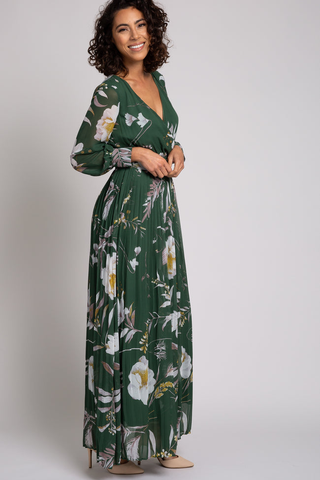 Olive Floral Pleated Long Sleeve Maxi Dress