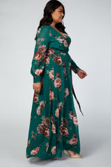Forest Green Rose Floral Chiffon Long Sleeve Plus Maxi Dress