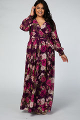 Purple Rose Floral Chiffon Long Sleeve Plus Maxi Dress