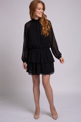 Black Long Sleeve Dotted Woven Dress