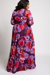 Purple Floral Chiffon Long Sleeve Plus Maxi Dress