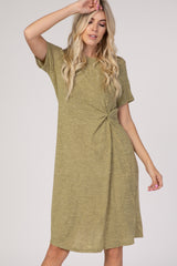 Yellow Short Sleeve Knotted Midi T Shirt Dress