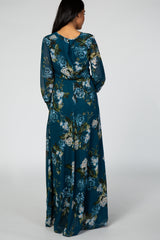 Teal Floral Chiffon Long Sleeve Maternity Maxi Dress
