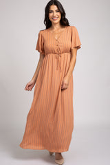 Peach Floral Flowy Sleeve V Neck Maxi Dress