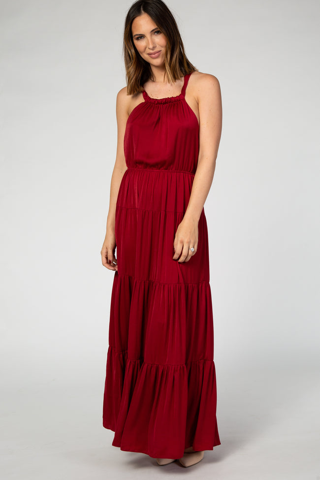 Burgundy Open Back Adjustable Strap Halter Neck Tiered Maternity Gown