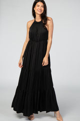 Black Open Back Adjustable Strap Halter Neck Tiered Maternity Gown