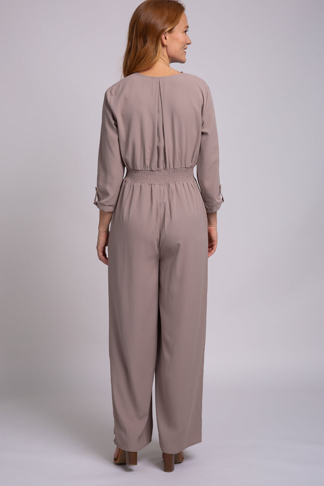 Mocha Long Sleeve Button Down Smocked Waist Jumpsuit