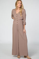 Mocha Long Sleeve Button Down Smocked Waist Maternity Jumpsuit