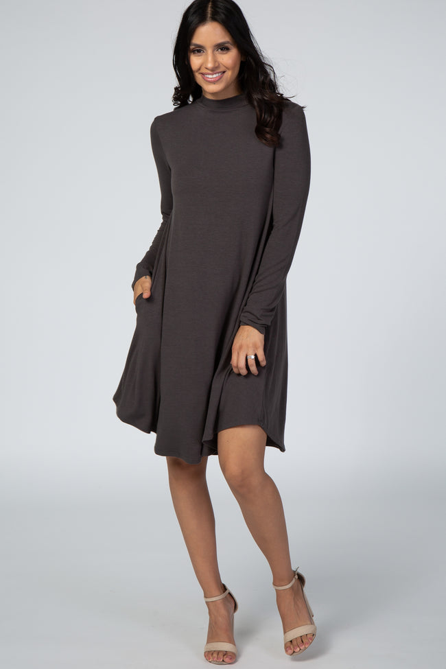 Grey Mock Neck Long Sleeve Maternity Dress