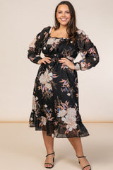 Black Floral Long Sleeve Plus Midi Dress