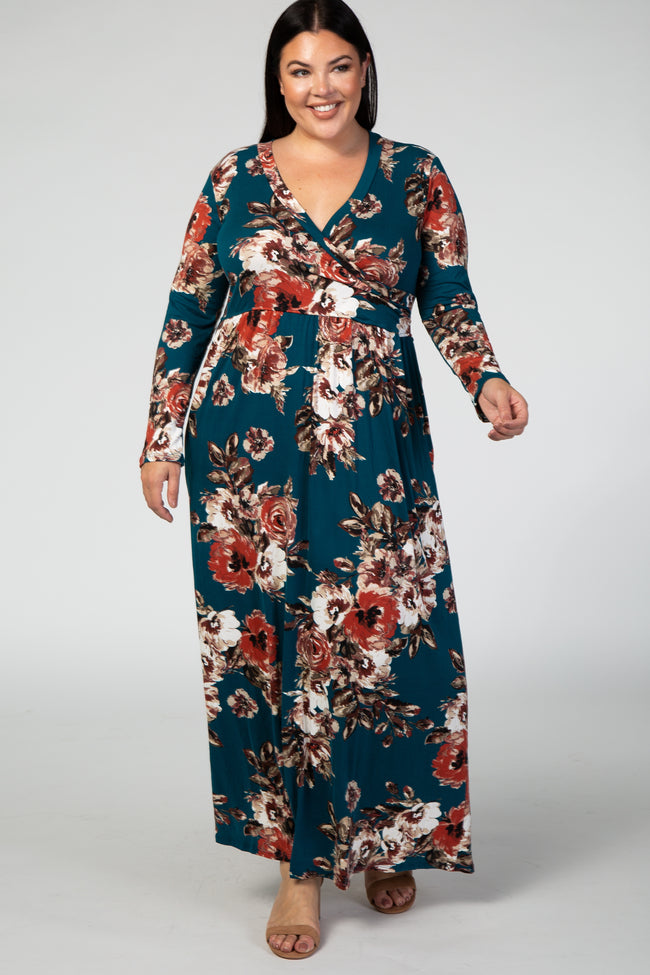 Teal Floral Plus Maxi Dress