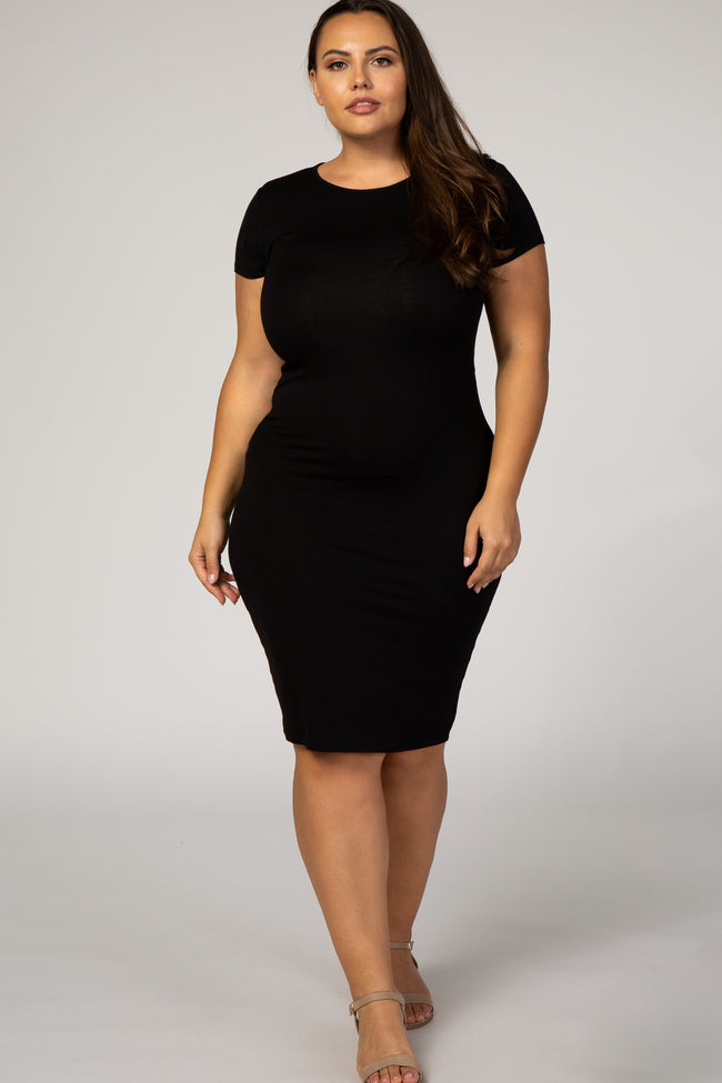 Black Short Sleeve Fitted Plus Maternity Midi T Shirt Dress