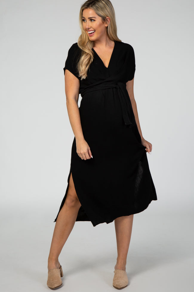 Black Tie Front Linen Maternity Midi Dress