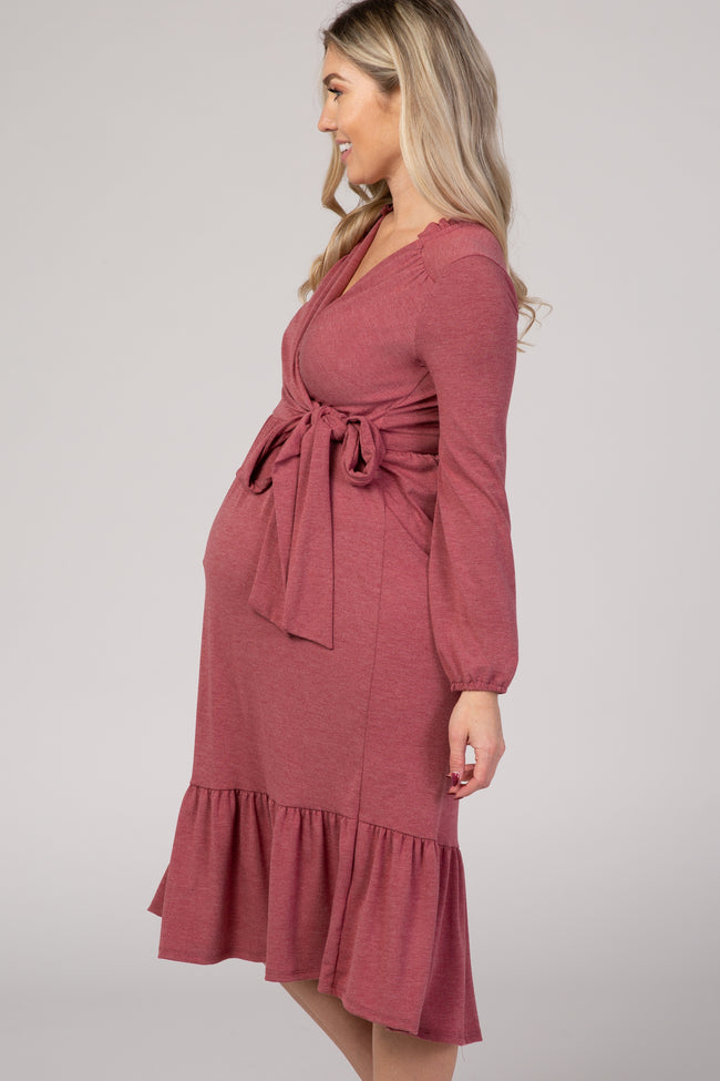 Burgundy Ruffle Trim Maternity Wrap Dress