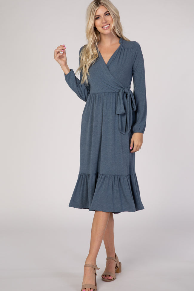 Navy Blue Ruffle Trim Maternity Wrap Dress