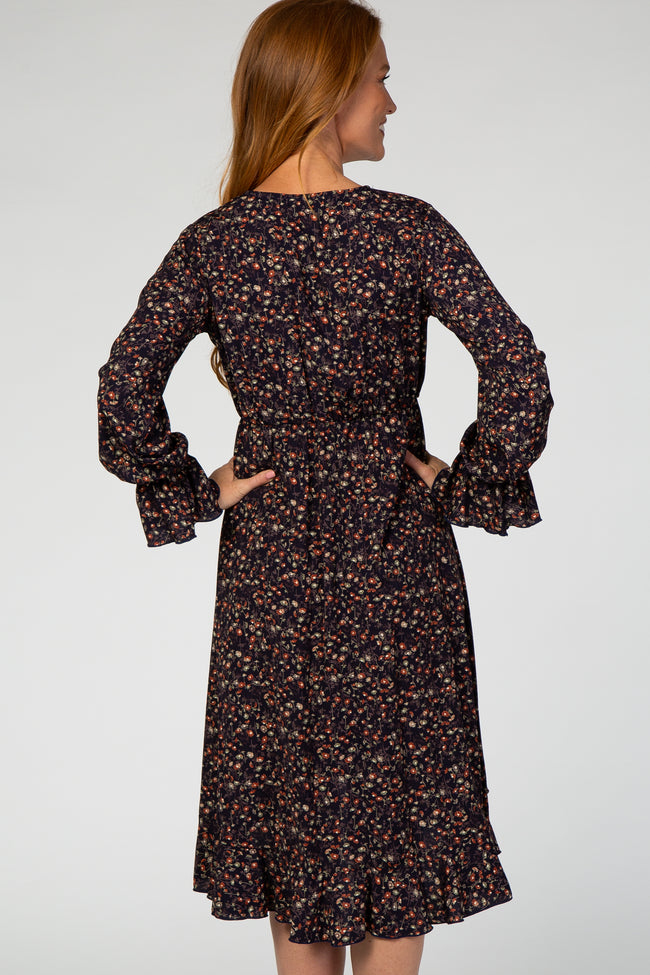 Navy Floral Print Ruffle Accent Wrap Dress