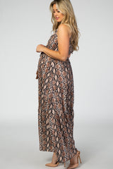 Brown Snake Print Halter Neck Maternity Maxi Dress