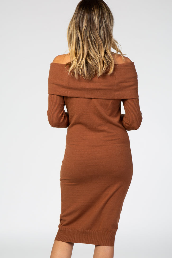 Camel Off Shoulder Midi Dress