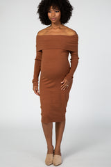 Camel Off Shoulder Midi Maternity Dress
