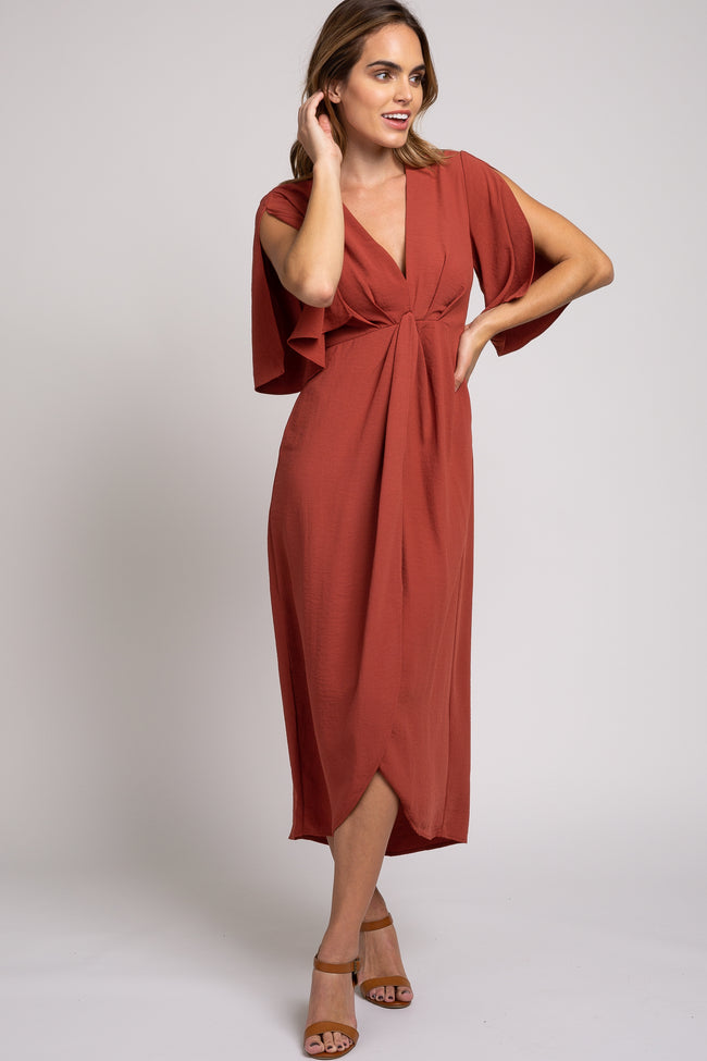Rust Open Sleeve Wrap Midi Dress