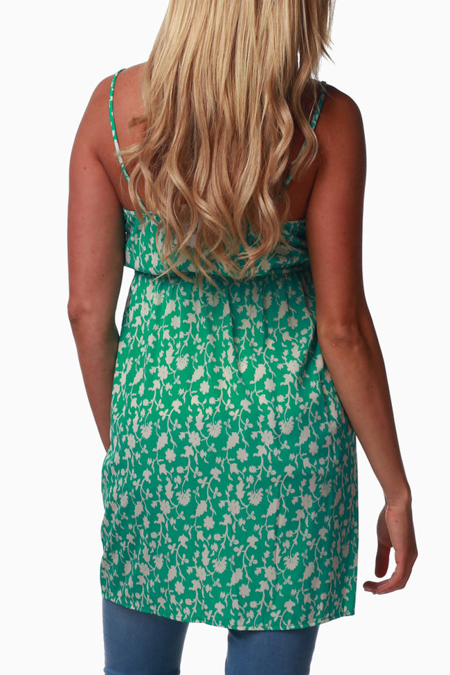 Green Floral Print Maternity Tunic