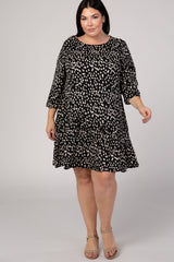 Black Animal Print 3/4 Sleeve Ruffle Hem Plus Dress
