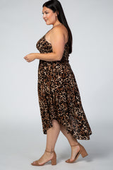Brown Animal Print Smocked Midi Plus Dress