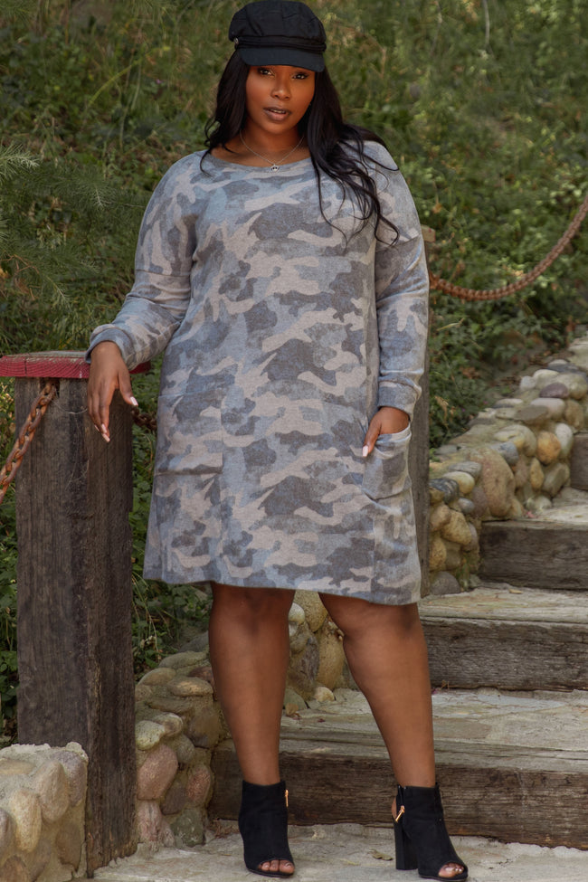 Grey Camo Long Sleeve Plus Midi Dress