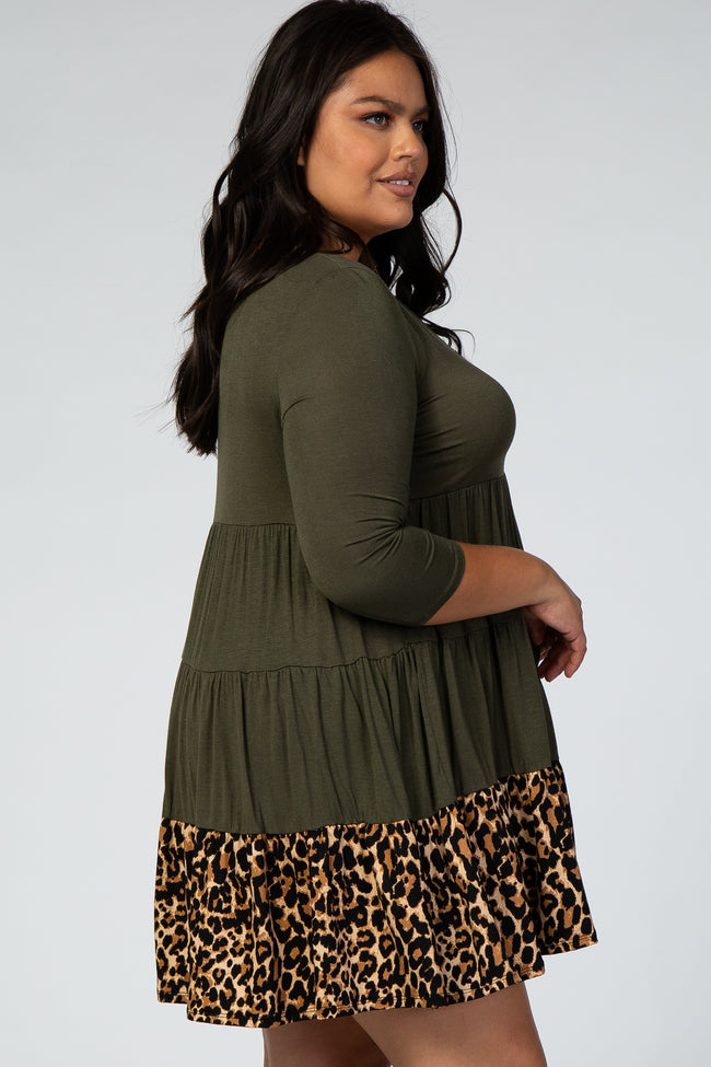 Olive 3/4 Sleeve Plus Dress