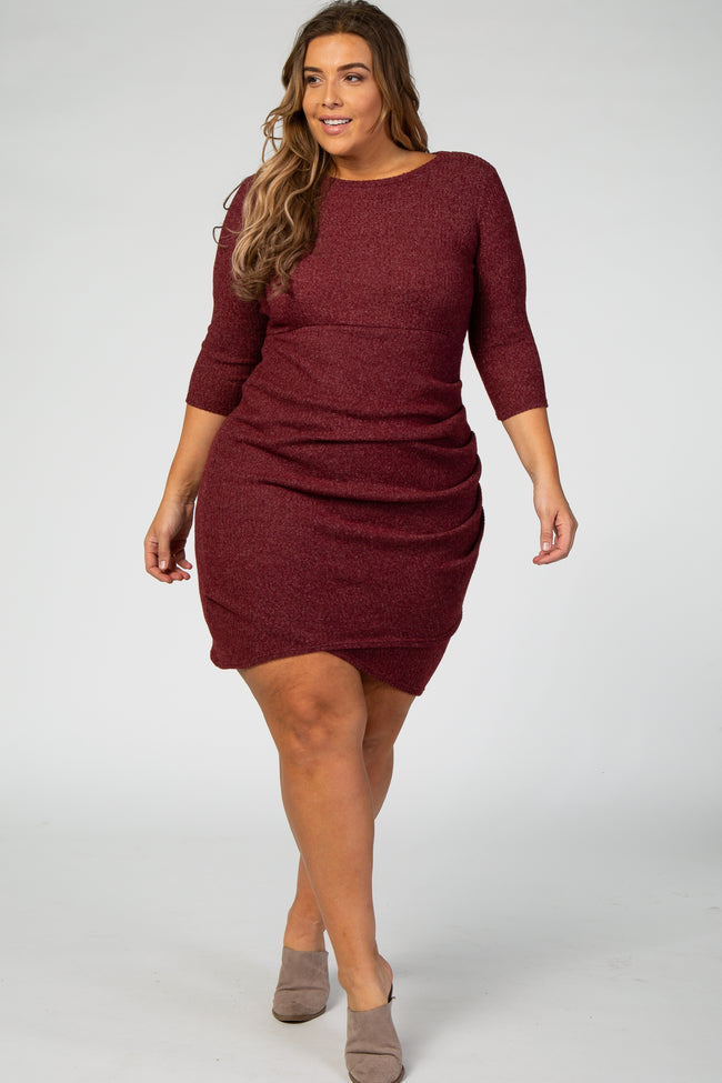 Burgundy Ribbed Knit Maternity Plus Dress