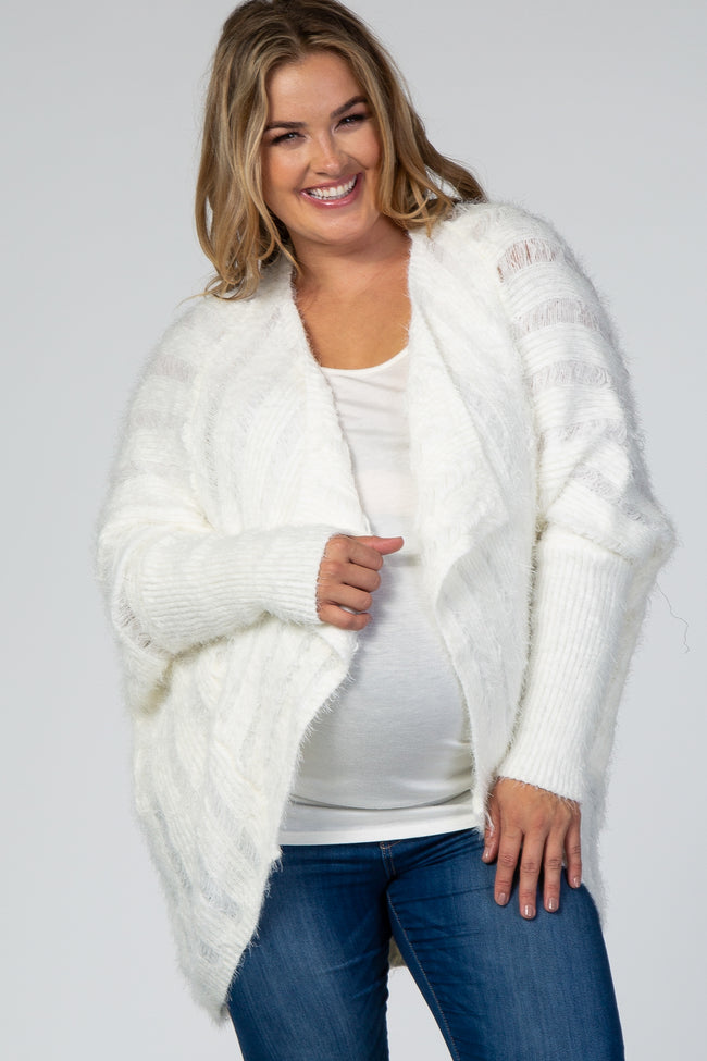 White Fuzzy Knit Ribbed Maternity Plus Cardigan