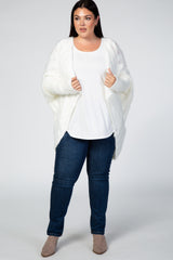 White Fuzzy Knit Ribbed Plus Cardigan