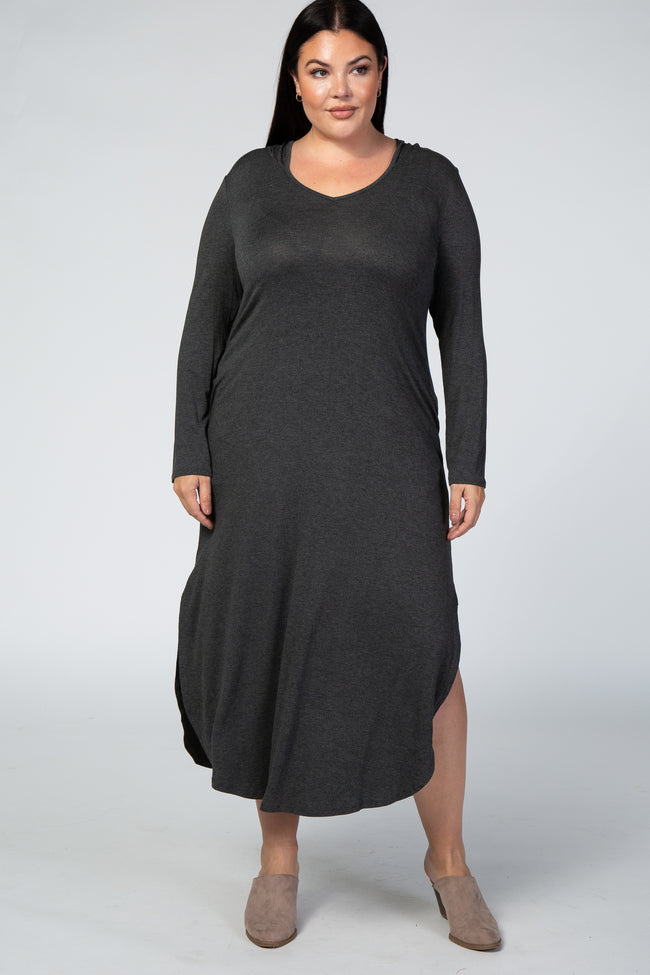 Charcoal Long Sleeve V Neck Hooded Plus Maxi Dress