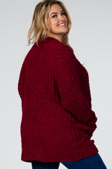 Burgundy Ribbed Popcorn Knit Maternity Plus Cardigan