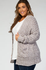 Grey Heathered Ribbed Popcorn Knit Plus Cardigan
