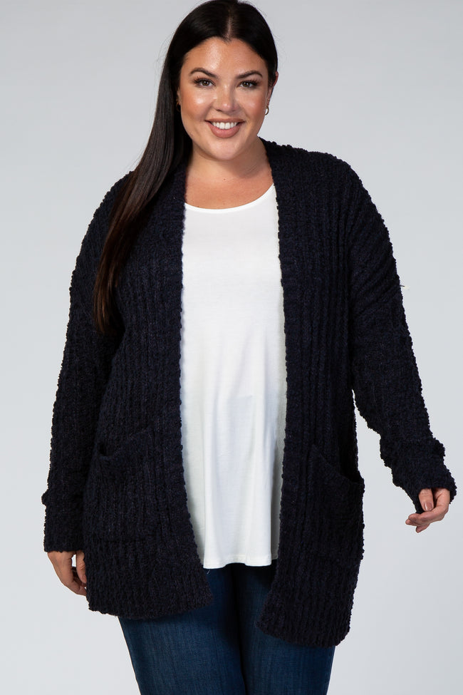 Navy Blue Ribbed Popcorn Knit Maternity Plus Cardigan
