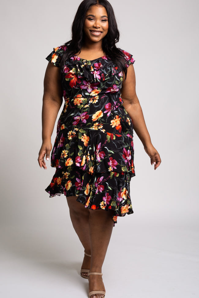 Black Floral Tiered Ruffle Tied Waist Hi-Low Plus Dress