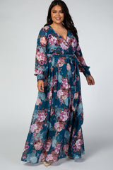Teal Floral Chiffon Long Sleeve Maternity Plus Maxi Dress