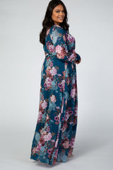 Teal Floral Chiffon Long Sleeve Plus Maxi Dress