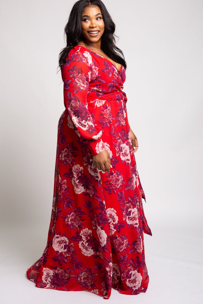 Red Rose Floral Chiffon Long Sleeve Plus Maxi Dress