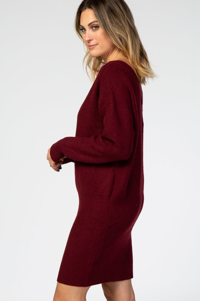 Burgundy Ribbed Knit Long Sleeve Dress