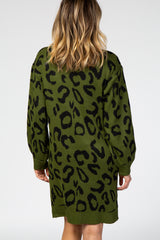 Forest Green Animal Print Sweater Dress