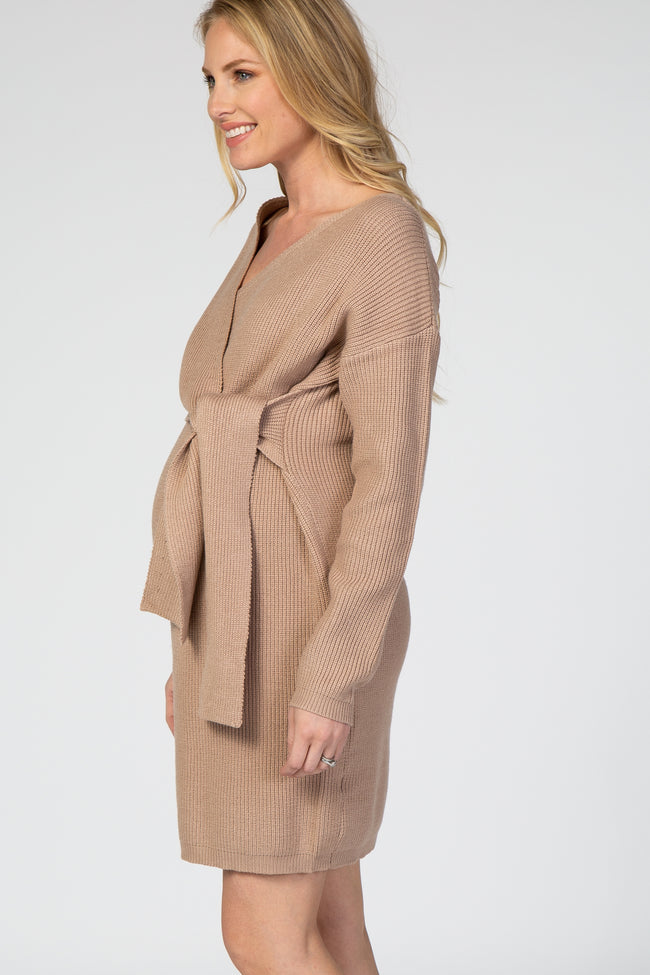 Taupe Front Tie Knit Maternity Dress
