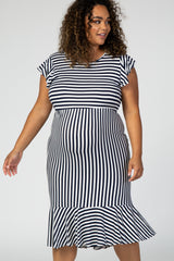 Navy Blue Striped Ruffle Maternity Plus Midi Dress