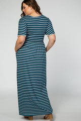 Teal Striped Crochet Trim Maternity Plus Maxi Dress