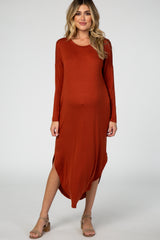 Rust Long Sleeve Round Neck Curved Hem Maternity Dress