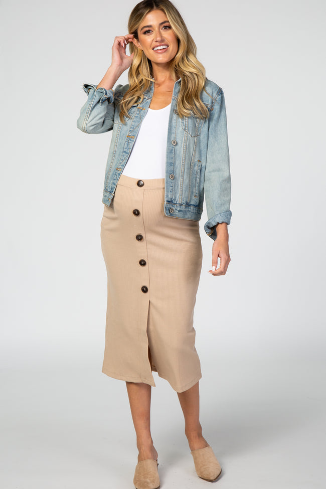Taupe Fitted Button Down Front Slit Maternity Midi Skirt