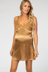 Gold Satin Lace Detail Maternity Slip Sleep Dress