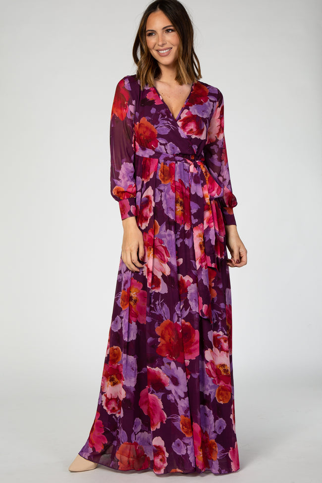 Purple Floral Chiffon Long Sleeve Pleated Maternity Maxi Dress